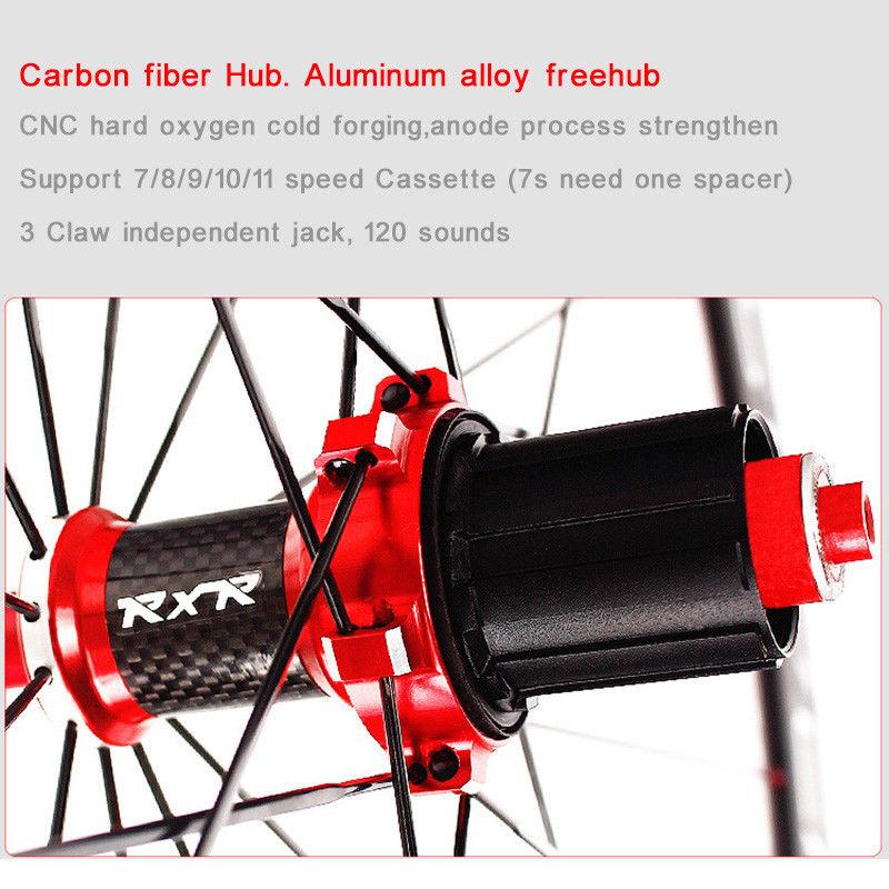 RXR 700C Bike Wheelset Carbon Hub Road Bike Bicycle F&R Wheels Wheelset Clincher Sealed Bearings 7-11 Speed V Brake (11)