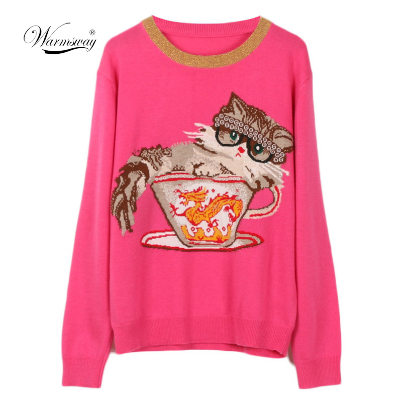 Wholesale Runway Design Knitted Pullover Fashion Long Sleeve Cat Dragon Jacquard Winter Women Sweater Jumper sueter mujer  C-298