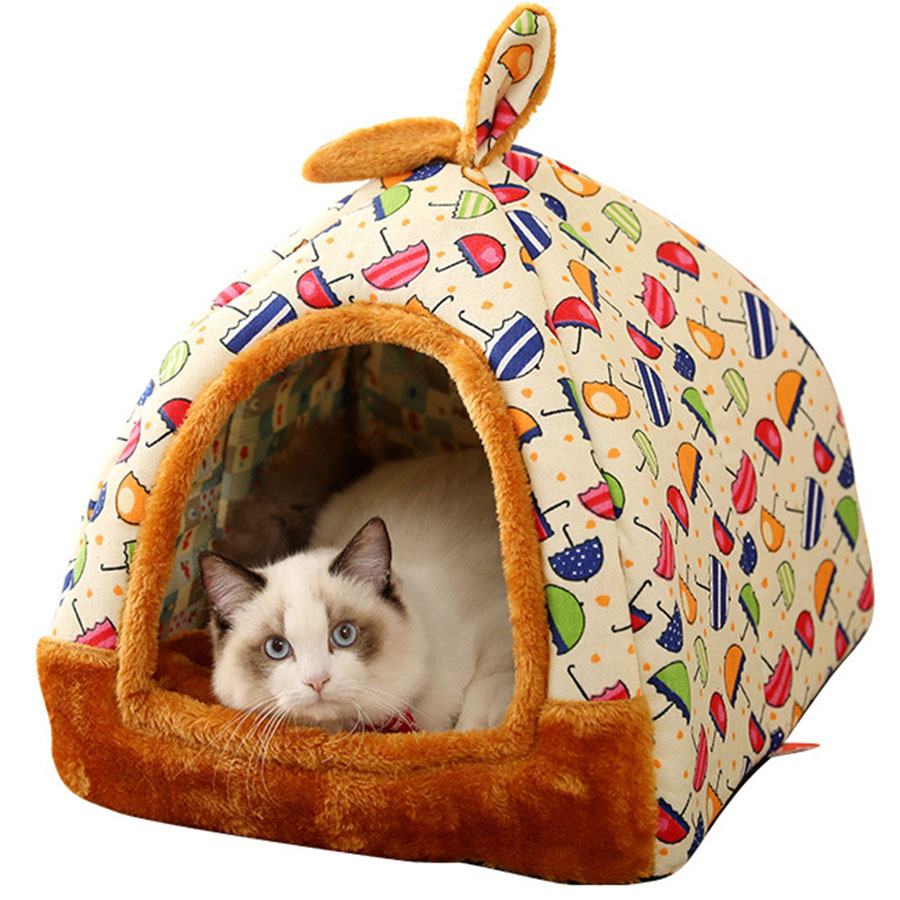 Pet - Cat House Foldable Lovely Printing Warm Cozy for Cats Dogs Nest Collapsible Cat Cave Cute Sleeping Mats Winter Pet Products