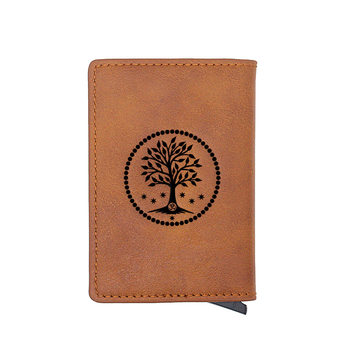 Brown Tree of Life ID Card Holder Wallet Charm Women Mini Short Purse Small Money Bag