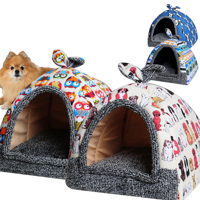 Animal - Cat House Foldable Lovely Printing Warm Cozy for Cats Dogs Nest Collapsible Cat Cave Cute Sleeping Mats Winter Pet Products