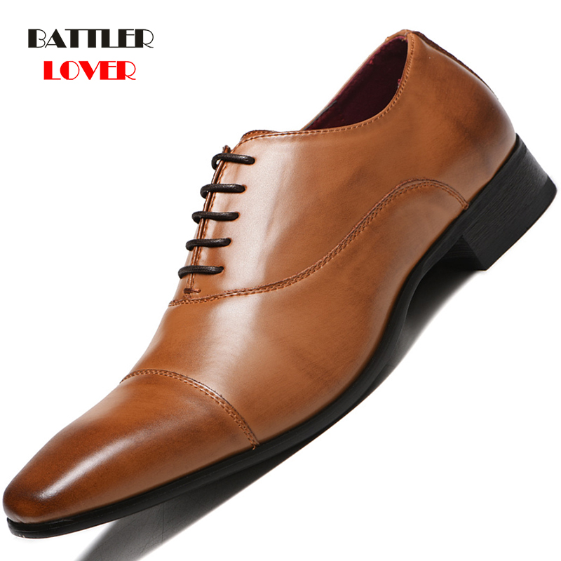 2019 Men Formal Shoes Genuine Leather Business Casual Shoes High Quality Men Dress Office Luxury Shoes Male Breathable Oxfords