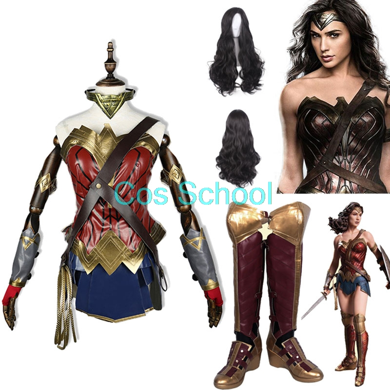 Cos School Wonder Woman 1984 Cosplay Costumes Diana Prince Wigs and Shoes Princess Diana of Themyscira Boots Costumes