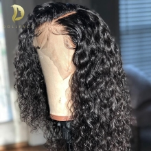 Wigs Short Human-Hair Curly Deep-Wave Lace-Front Pre-Plucked Black Women for Brazilian