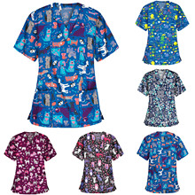 Blouse Overalls Working-Uniform Q5 Nurse Women Tops Print Cartoon V-Neck Short-Sleeve