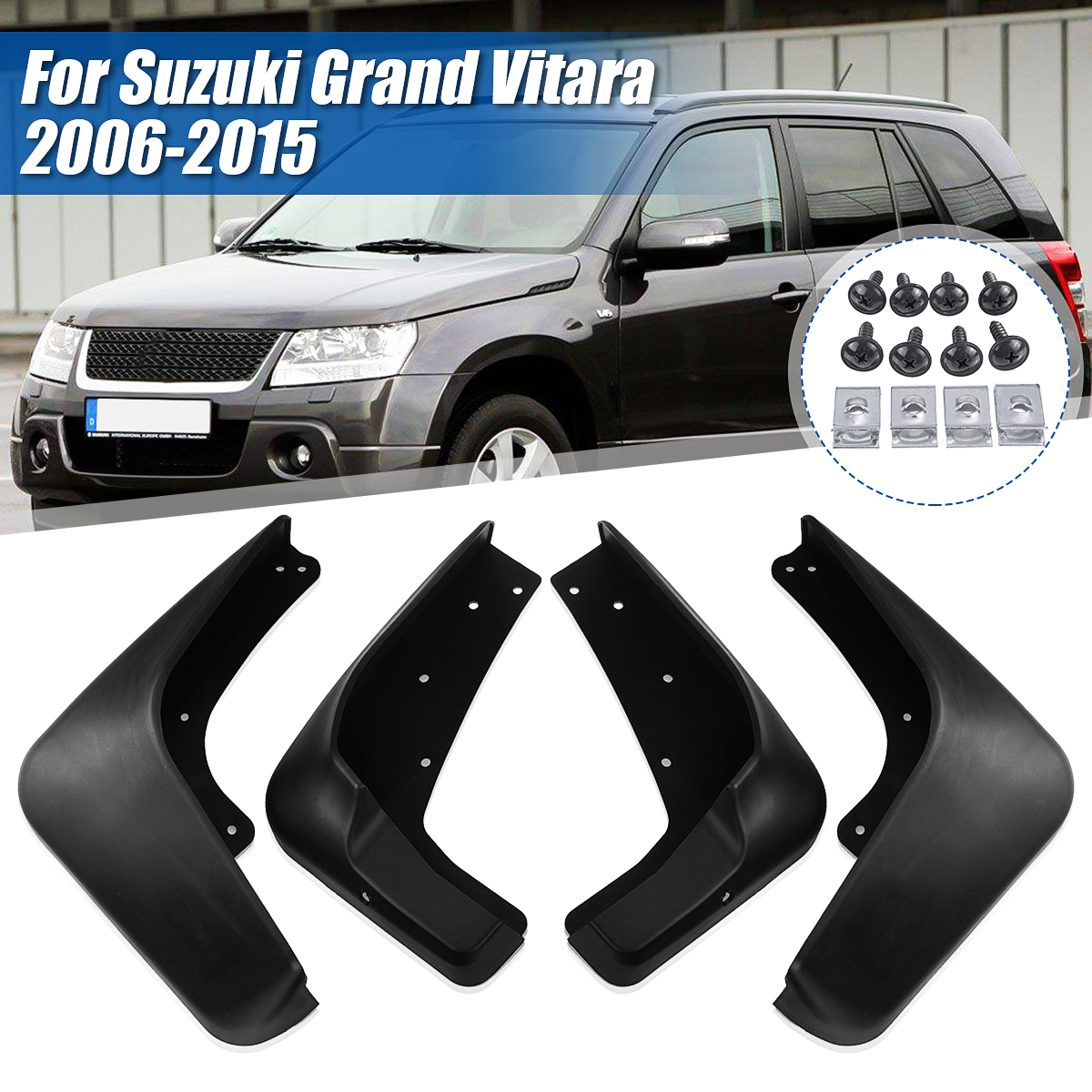 Car Custom Mud Flaps Splash Guards for Suzuki Grand Vitara 2006-2013 2016-2018 Fender Flares Mudflaps Mudguards Front and Rear Wheel 4Pcs