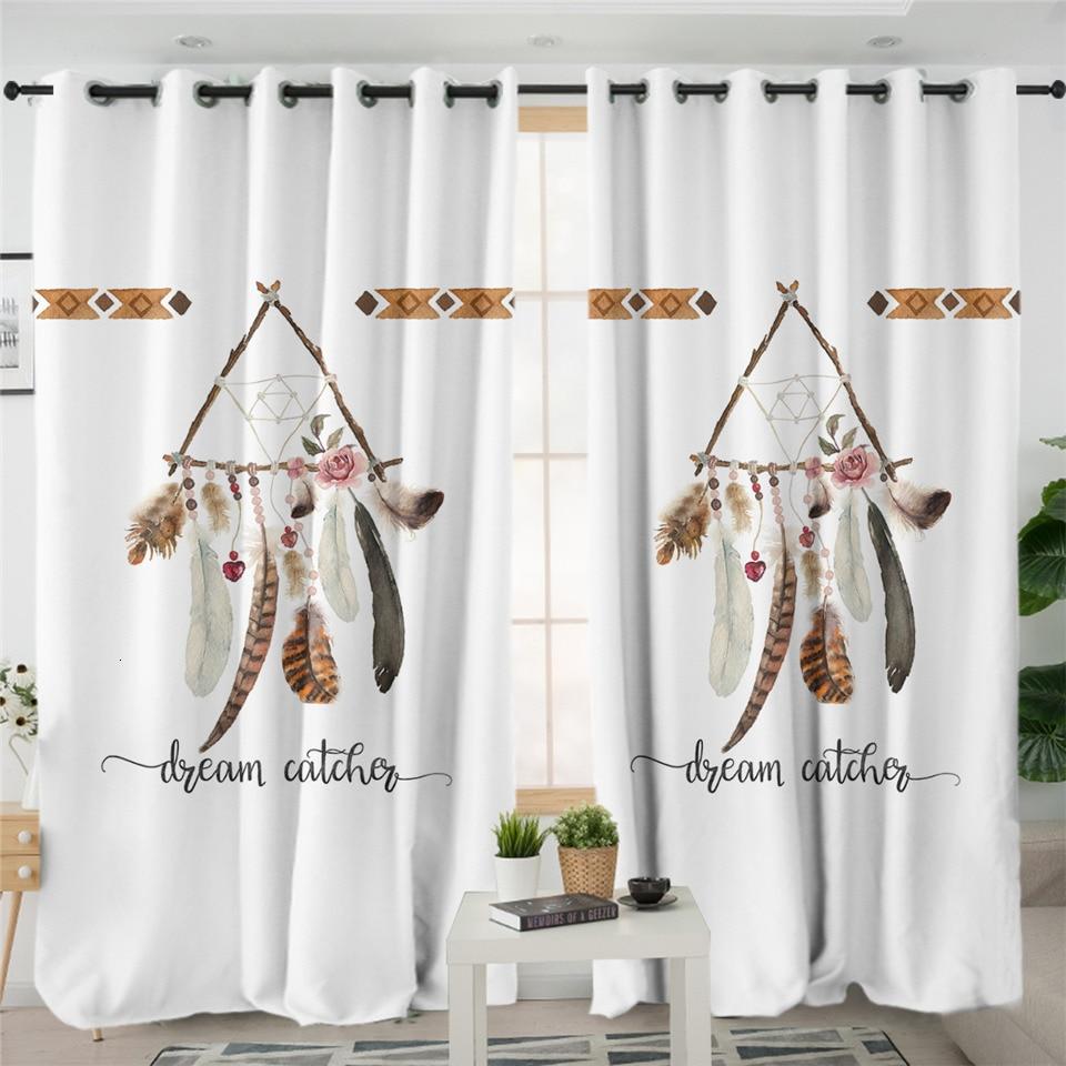 Rideaux Attrape Rêves Blanc Triangle Bohème