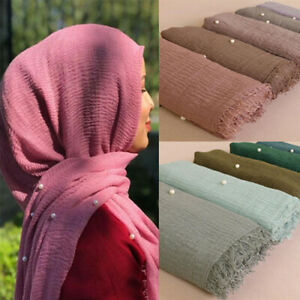 Plain Crinkled Cotton Maxi Muslim Hijab Wrap Women Ladies Scarf Shawl Head Wrap Pearl Beads Head Scarves Soft Muffler Stole