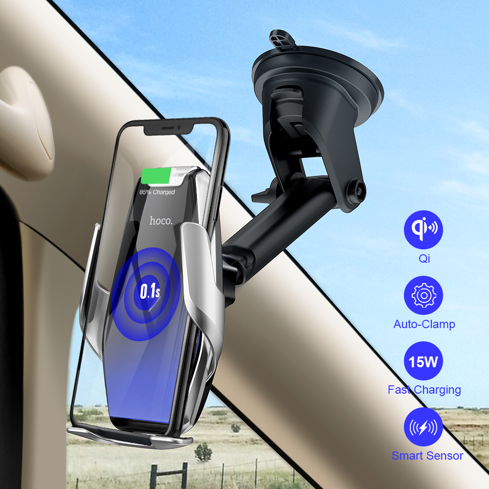 HOCO Qi Wireless Car Charger Automatic Infrared Clip Air Vent Mount Car Phone Holder Glass Surface 15W Fast Charger for iPhone X title=