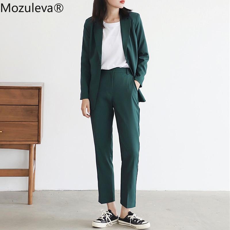 Mozuleva 2020 Vintage Green Women Blazer Suits Long Sleeve One Button Blazer Pants Suit Office Ladies 2 Piece Blazer Sets Femme
