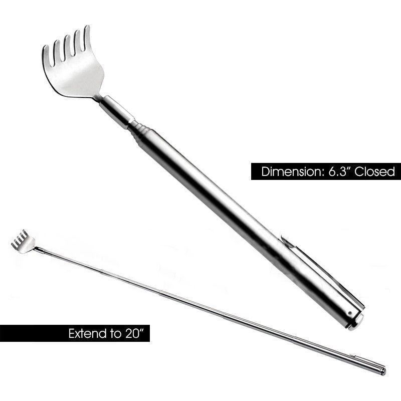 Stainless Adjustable Back Scratcher Telescopic Pocket Scratching Massage Kit Practical Handy Portable Pen Clip Tool Parts