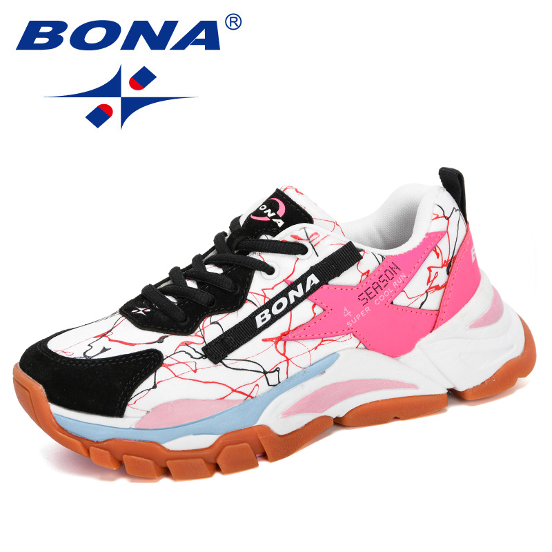 BONA 2020 New Designers Mesh Breathable Running Shoes Women Outdoor Walking Shoes Woman Fashion Sneakers Ladies Jogging Footwear