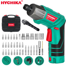 Electric-Screwdriver Power-Tool Cordless HYCHIKA Rechargeable Twistable-Handle Battery