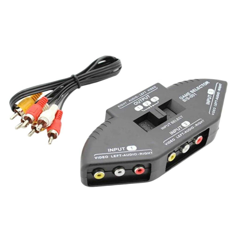 4-Way  AV Audio Video RCA Black Switch Selector Box Splitter with//3 RCA Cable
