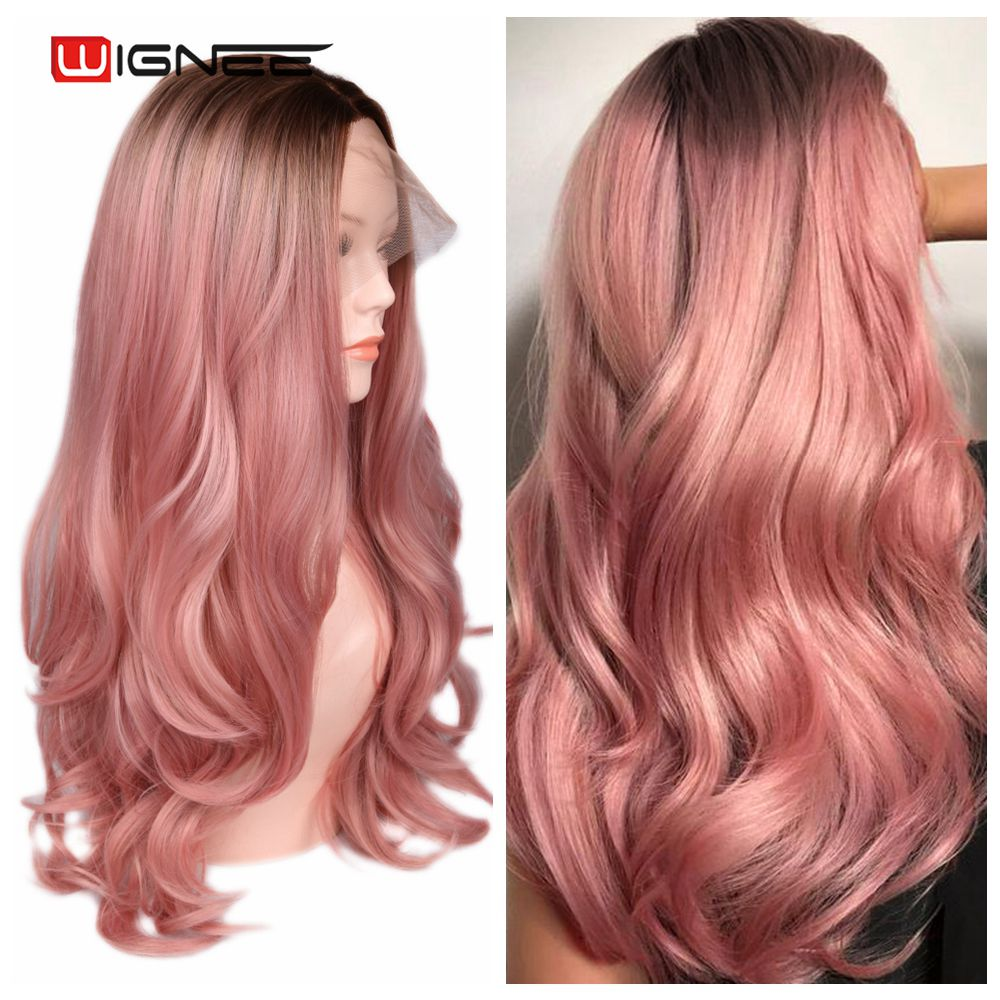 Wignee Lace Front Synthetic Wig Long Ombre Pink Natural Wavy Hair Wig Heat Resistant for Women Fiber Glueelss Cosplay Hair Wigs