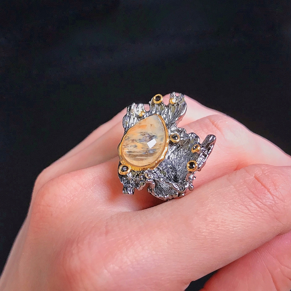 WA11787 DreamCarnival1989 Amazing Women Rings Rough Stone Wedding Engagement Ring Strong Character Water Melon Zircon Gun Color A (8)