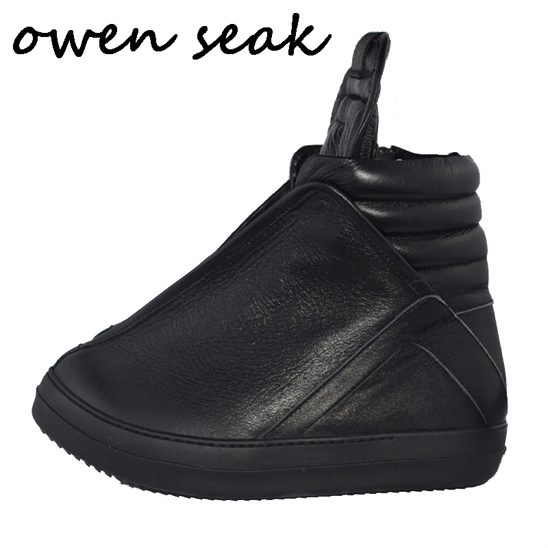 Owen Seak Men Shoes High-TOP Ankle Luxury Trainers Sneaker Genuine Leather Men Boots Casual Brand Zip Flats Black White Shoes