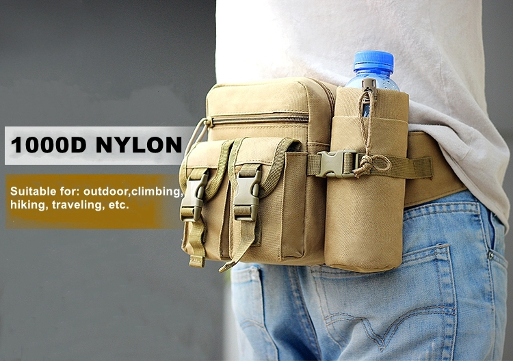 Tactical Men Waist Pack Nylon Hiking Water Bottle Camping Belt Bag