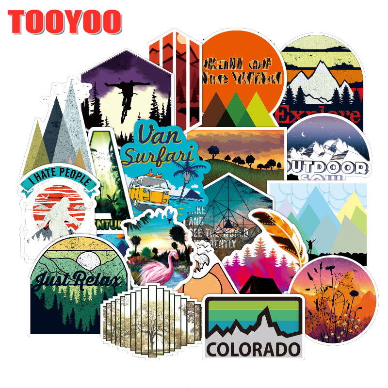 50Pcs/Set Cartoon Outdoor Camping Travel Stickers For Guitar DIY TOY Bicycle Motorcycle Skateboard Snowboard Laptop Luggage