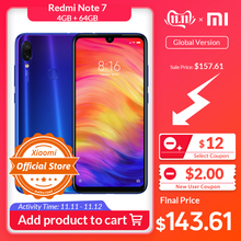 Xiaomi Redmi Note 7 4GB 64GB WCDMA/LTE/GSM/.. Quick Charge 4.0 Game turbogpu turbo/Gorilla glass/Bluetooth 5.0