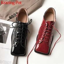 Shoes Pumps Krazing Pot Lace-Up Square Toe Med-Heels Women High-Fashion Streetwear Popular