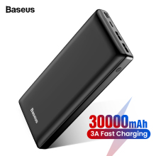 Baseus Power-Bank External-Battery-Charger Xiaomi Mi iPhone 11 Portable 30000mah