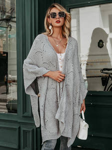 Simplee Jumper Cardigan Outwear Knitted Women Hollow-Out Autumn Winter Half-Sleeve Female