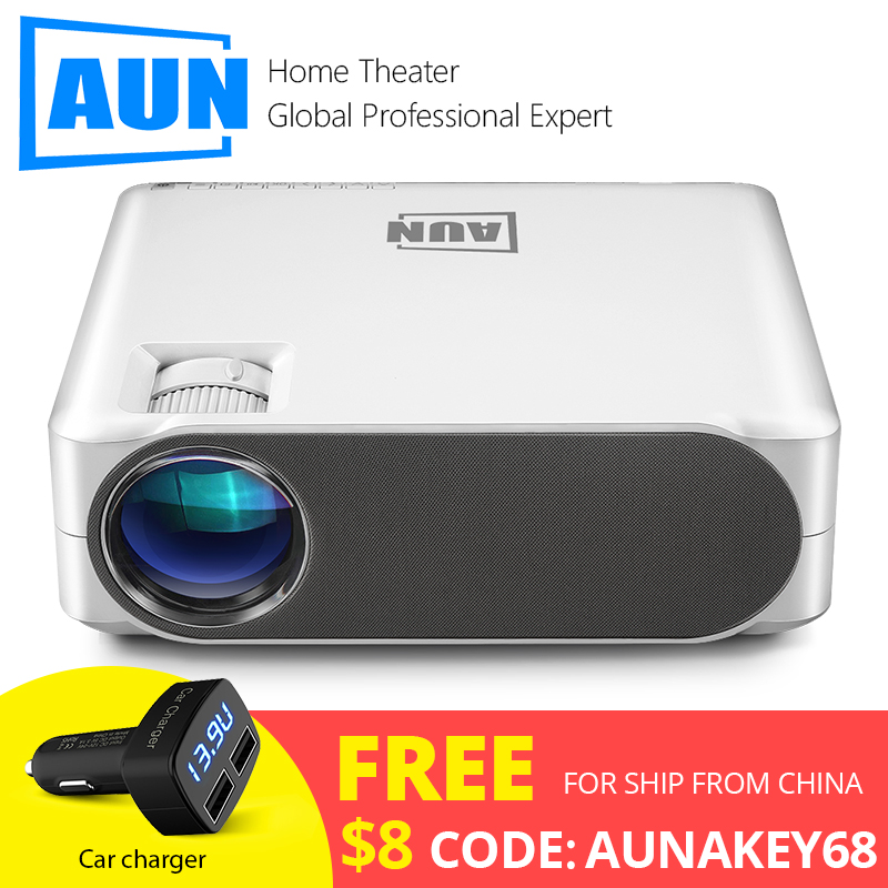 AUN Full HD Projector AKEY6S, 6,800 Lumens, 1920x1080P, Android 6.0 WIFI Video Beamer, LED MINI Projector for 4K 3D Home Cinema.