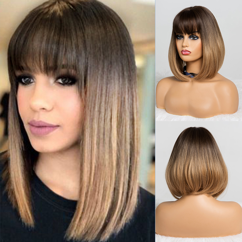 Synthetic Wigs Bangs Short Tiny Lana Heat-Resistant Brown Lolita Black Straight Ombre title=