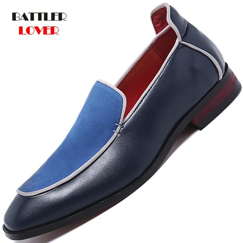 Brand Formal Shoes Men High-End Custom Men Leather Dress Shoes Fashion Flock Big Size Loafers Men