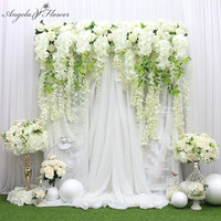 Luxury Custom 150CM Big Arfiticial Flower Row Wisteria Orchid Wedding Backdrop Decor Party Event Stage White Pink Flowers Wall