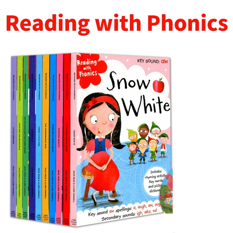 10 Pcs/Set Reading with Phonics Fairy Tale English Picture Book Little Red Riding Hood Early Education Books