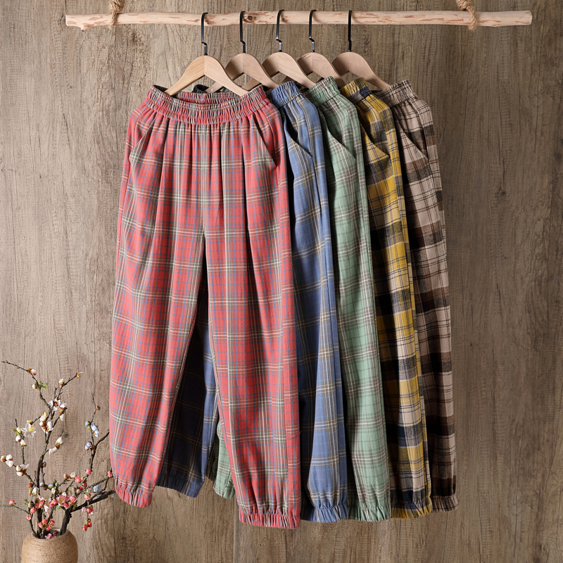 Summer New Casual Cotton Fabric Trousers Loose and Comfortable Plus Fours Pants Plaid Pants Plus Size Pants Women Wide Leg Pants