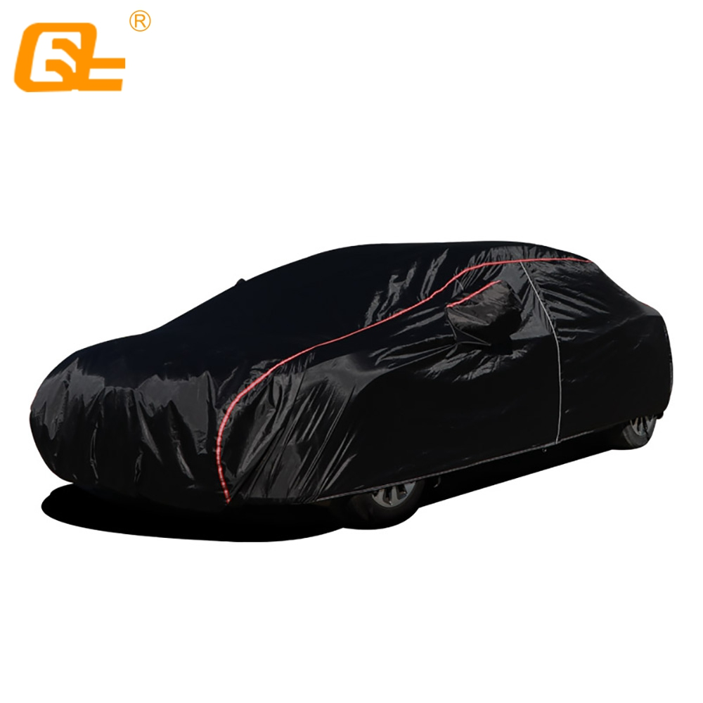 210T Universal full car covers outdoor prevent sun snow rain dust frost wind and leaves black fit suv sedan hatchback title=