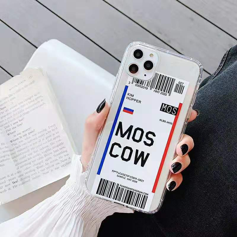 Travel Country New York Plane Air Ticket Phone Case for iPhone 11 Pro X Xs Max Xr 7 8 Plus Losangeles Clear Soft Cover New York-for iPhone 11
