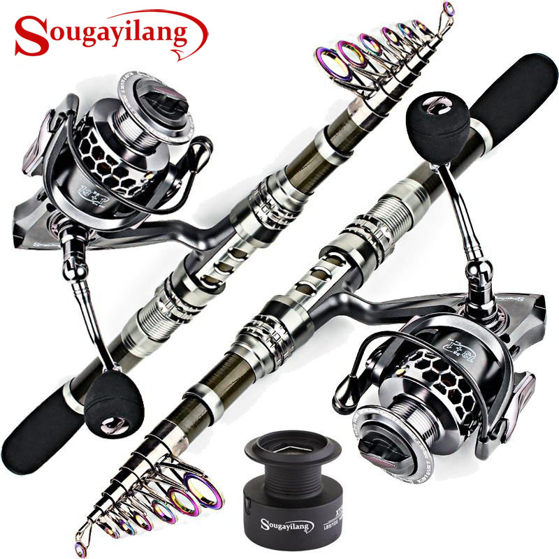 Sougayilang Carbon Fiber Spinning Fishing Rod Pole And Fishing Reel Combo Telescopic Fishing Pole Spinning Reel Kit