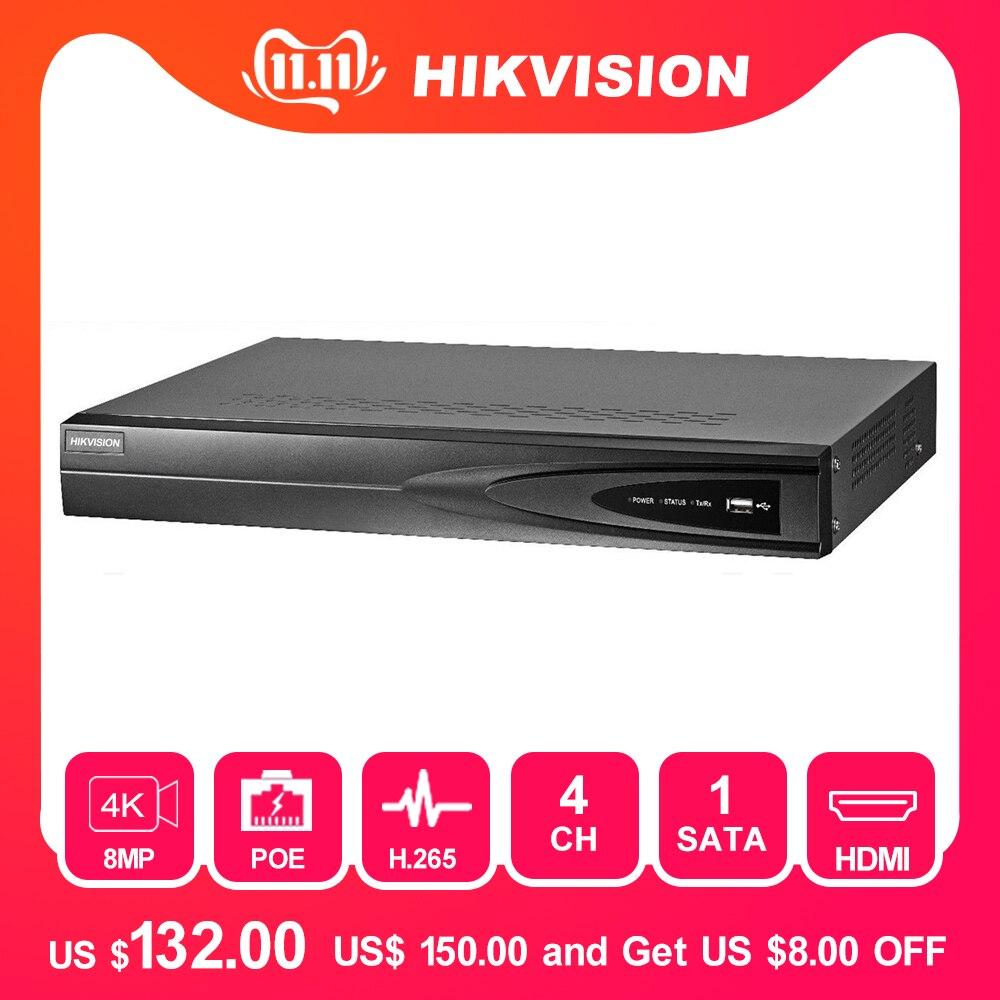 Hikvision 4CH NVR  8MP W//4CH POE H.265 B 4K HDMI DS-7604NI-K1//4P H-265