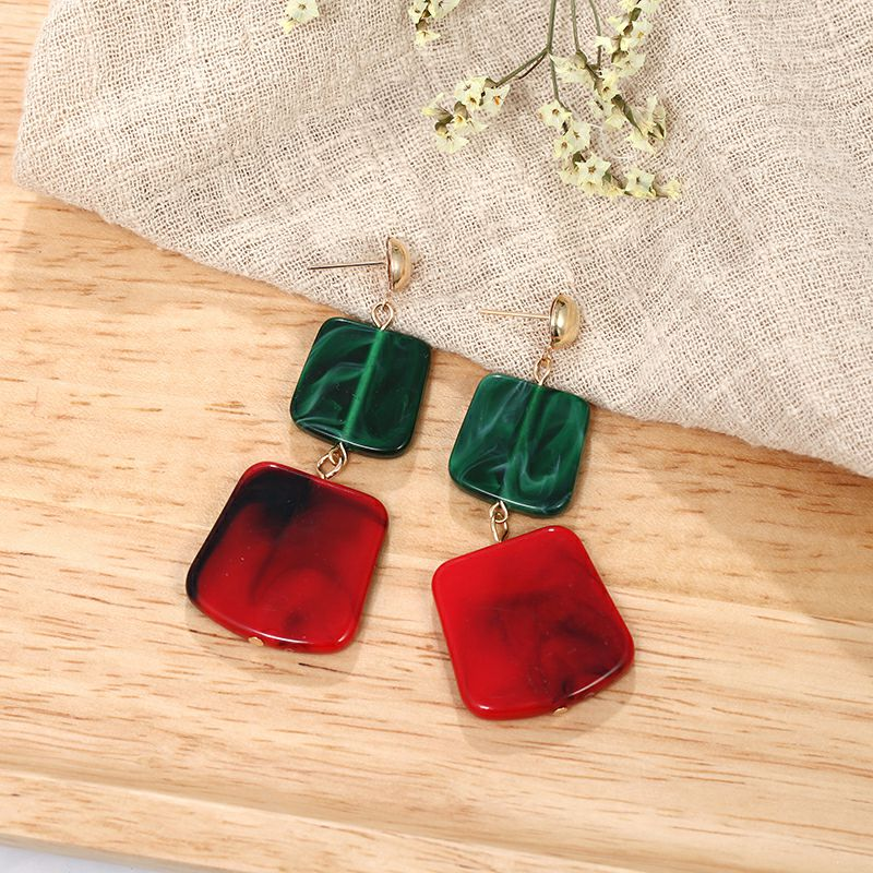 19 Fashion Earring for Women Big Square Acrylic Earrings multiple colour Long Drop Earrings boho jewelry Gift for Best friend 11