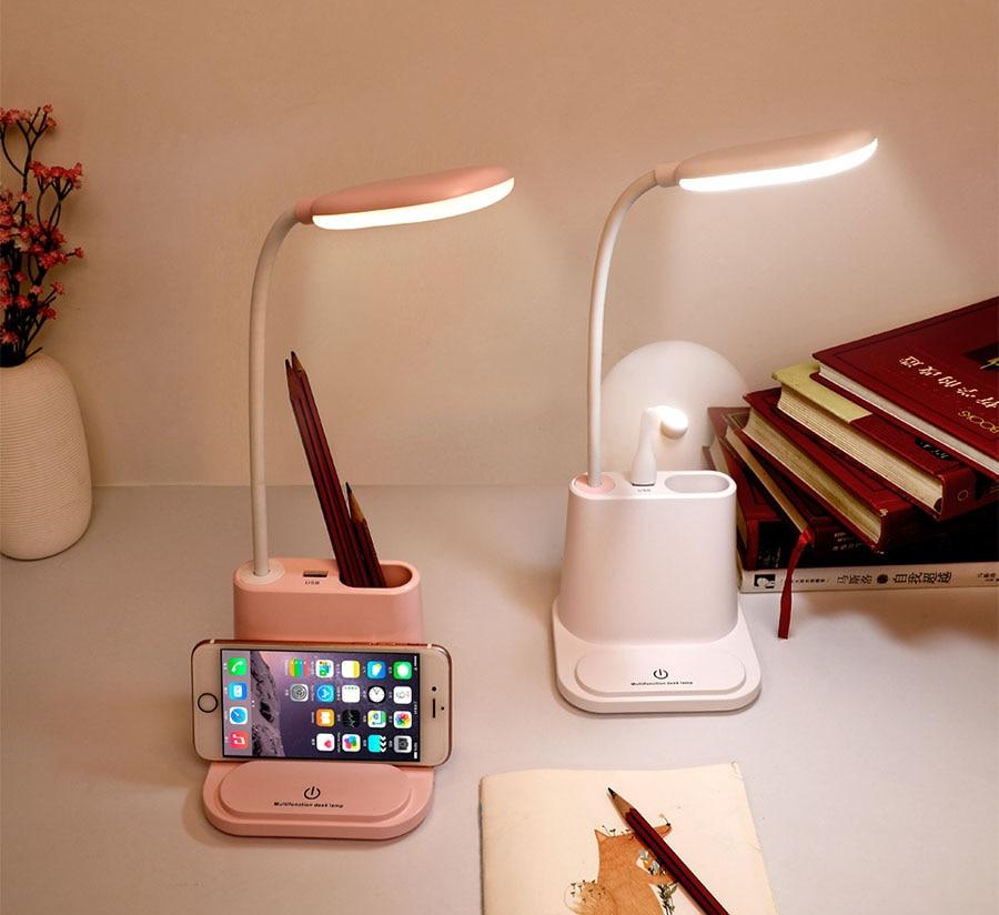 l/ámpara de mesa LED con 1 puerto de carga USB trabajo L/ámpara de escritorio LED control t/áctil para el estudio blanco