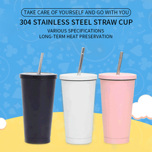 Coffee-Mug Metal-Cup Drink-Straw Stainless-Steel 500ml with Lid