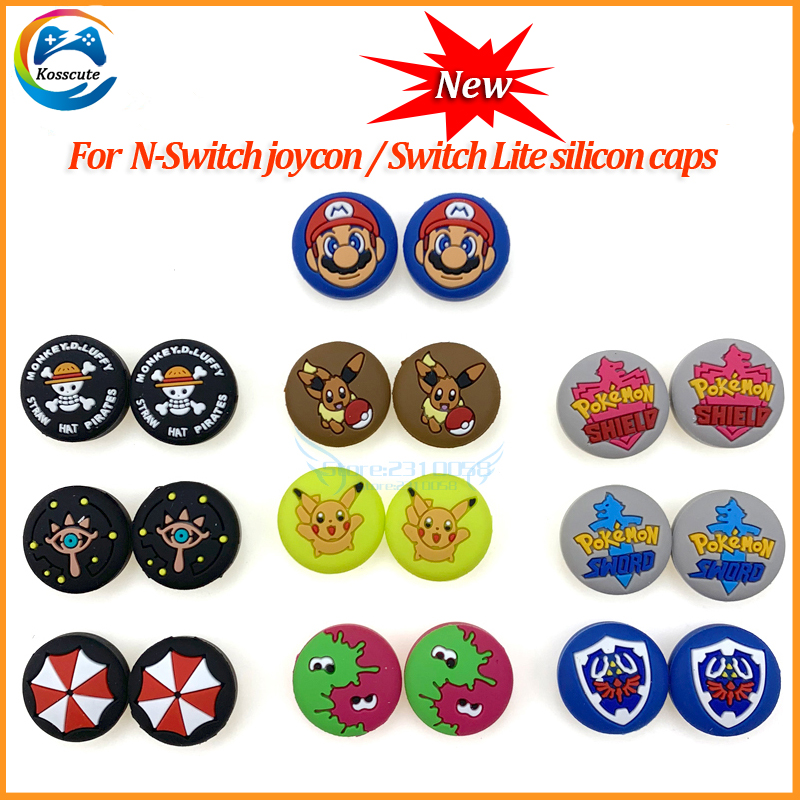 2PCS Games Thumbtick Grip Caps for Nintend Switch Lite Gamepade Games Console Joystick Silicone Cover Cases Cap Thumbticks for N title=
