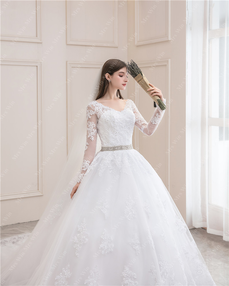 Wedding Dress 2021 Full Sleeve Sexy V-neck Sweep Train Ball Gown Princess Luxury Lace Vestido De Noiva Wedding Dress Plus Size