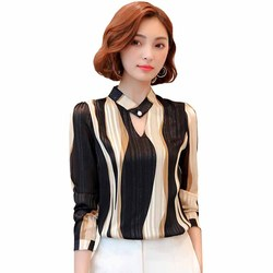 Блузка женская шифоновая в полоску с длинными рукавами