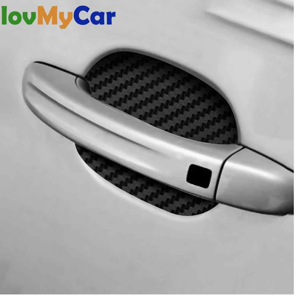 4X Car Door Sticker Carbon Fiber Scratches Protection Film Decal Styling Accessories Resistant Cover Auto Handle Car Sticker