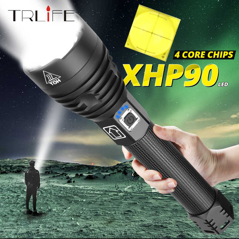 High Power 200000Lumens XHP90 Zoom Flashlight LED Rechargeable Torch Headlamp UK