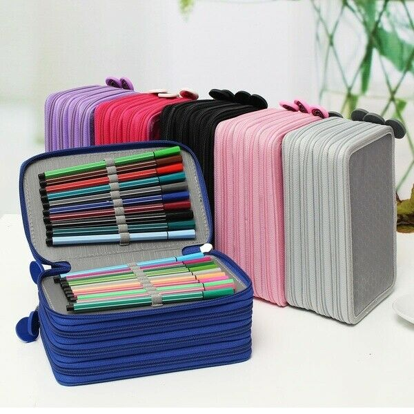 Organizer Bag-Box Pencil-Case Watercolor 72-Slots Oxford-Fabric School Large Stationery-Supplies title=