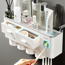 Magnetic Adsorption Inverted Toothbrush Holder Automatic Toothpaste Squeezer Dispenser Storage Rack Bathroom Accessories Home