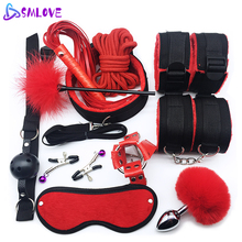 BDSM Bondage Rope Gag Nipple-Clamps Tail Butt-Plug Collar Sex-Toys Whip Couples Sex-Handcuffs