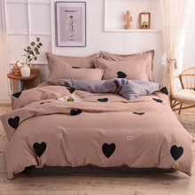 Bedspread Quilt-Cover Bedding-Set Bed-Sheet Size-Pillowcase JUSTCHIC Love-Heart-Printing