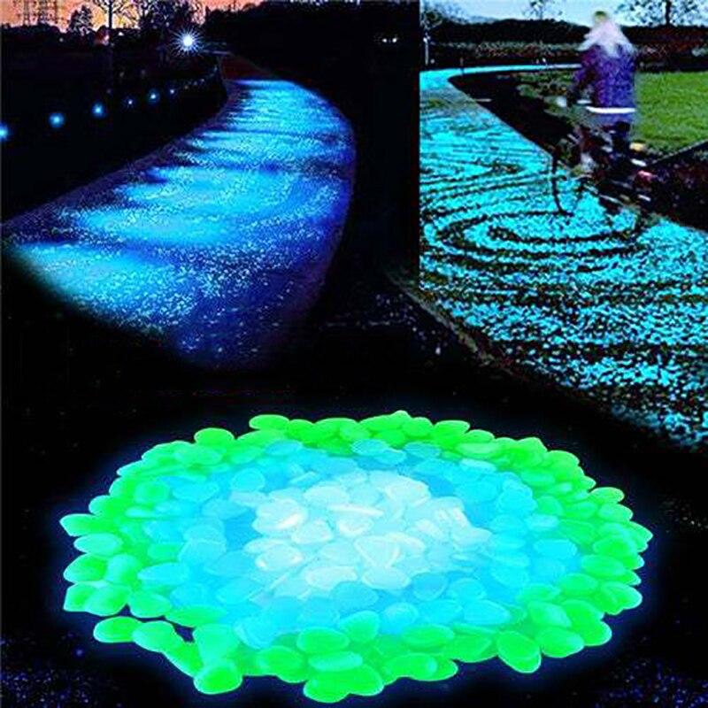 100pc Glow in Dark Garden Pebble Cobble Luminous Stone Rock for Fish Tank NEWest